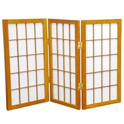 Oriental 3 Panel Desktop Window Pane Shoji Screen in Honey