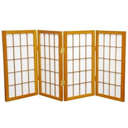 Oriental 4 Panel Desktop Window Pane Shoji Screen in Honey