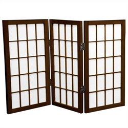 Oriental 3 Panel Desktop Window Pane Shoji Screen in Walnut