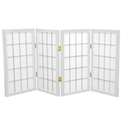 Oriental 4 Panel Desktop Window Pane Shoji Screen in White