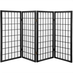 Oriental Furniture Four Panel Window Pane Shoji Screen in Black