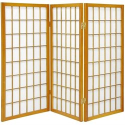 Oriental Furniture Three Panel Window Pane Shoji Screen in Honey