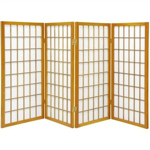 Oriental Furniture Four Panel Window Pane Shoji Screen in Honey