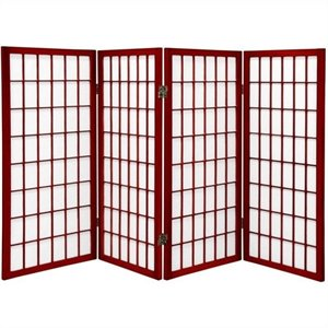 Oriental Furniture Four Panel Window Pane Shoji Screen in Rosewood