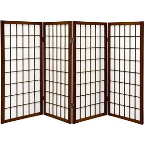Oriental Furniture Four Panel Window Pane Shoji Screen in Walnut