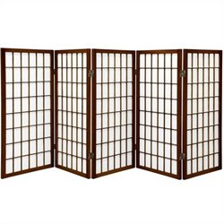 Oriental Furniture Five Panel Window Pane Shoji Screen in Walnut