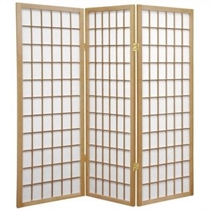 Oriental Furniture Three Panel Window Pane Shoji Screen in Natural