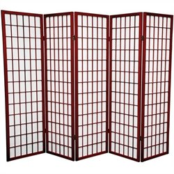 Oriental Furniture Five Panel Window Pane Shoji Screen in Rosewood
