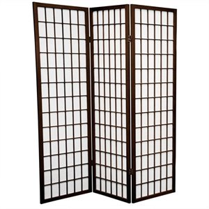 Oriental Furniture Three Panel Window Pane Shoji Screen in Walnut