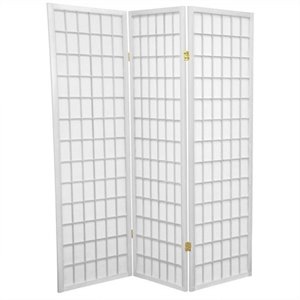 Oriental Furniture Three Panel Window Pane Shoji Screen in White