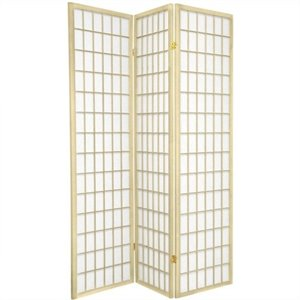 Oriental Furniture Window Pane Shoji Screen with Special Edit in Ivory