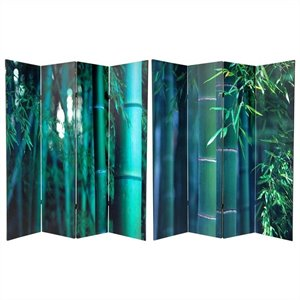 Oriental Double Sided 4 Panel Bamboo Tree Canvas Room Divider in Green
