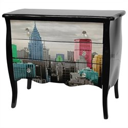 Oriental Furniture Colorful NYC Cabinet in Multicolor