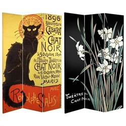 Oriental Double Sided Chat Noir Room Divider