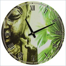 Oriental Furniture Golden Buddha Wall Clock in Multicolor