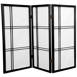 Oriental Furniture 3' Tall Double Cross 3 Panels Shoji Screen in Black
