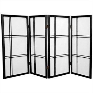 Oriental Furniture 3' Tall Double Cross 4 Panels Shoji Screen in Black