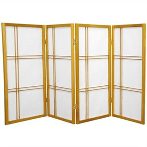 Oriental Furniture 3' Tall Double Cross 4 Panels Shoji Screen in Honey