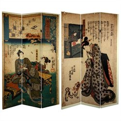 Oriental Furniture 6' Tall Japanese Figures Room Divider in Multicolor