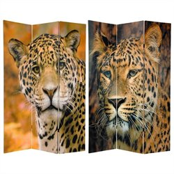 Oriental Furniture 6' Tall Leopard Room Divider in Multicolor