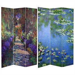 Oriental 6' Lilies and Garden At Giverny Room Divider