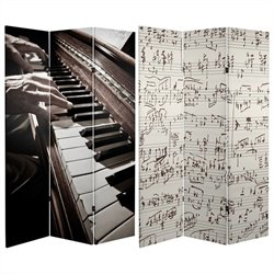 Oriental Furniture 6' Tall Music Room Divider in Black and White