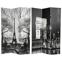 Oriental Furniture 6' Tall Paris Room Divider in Black and White