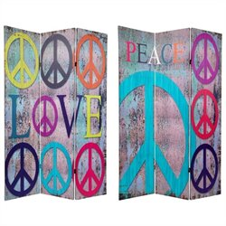 Oriental Furniture 6' Tall Peace and Love Room Divider in Multicolor