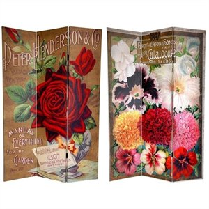 Oriental Furniture 6' Tall Roses Room Divider in Multicolor
