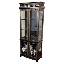 Oriental Mother Of Pearl Ladies Lacquer Curio Cabinet in Black