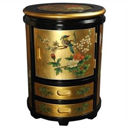 Oriental Furniture Japanese Stool in Gold
