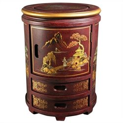 Oriental Furniture Japanese Stool in Red