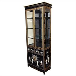 Oriental Furniture Mother Of Pearl Ladies Curio Cabinet in Black