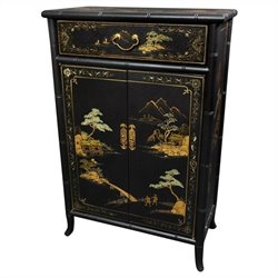 Oriental Furniture Japanese Shoe Cabinet in Black