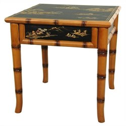 Oriental Furniture Ching Square Ming Table in Black