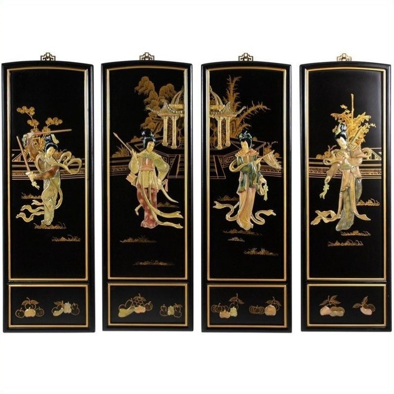 Oriental Furniture Lady Generals Wall Plaques In Black