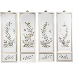 Oriental Furniture Birds and Flowers Wall Plaques in Black (Set of 4)