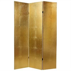 Oriental Furniture 6' Crocodile Room Divider in Gold