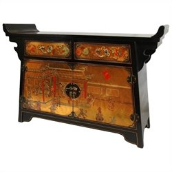 Oriental Furniture Daily Life Altar Accent Chest in Gold