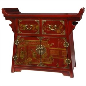 Oriental Furniture Village Life Altar Accent Chest in Red