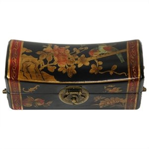 Oriental Furniture Flowers Pillow Box in Black