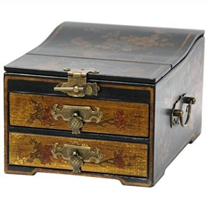Oriental Furniture Small Jewelry Box in Gold