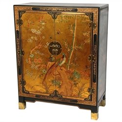 Oriental Furniture Nestling Birds Accent Chest in Gold