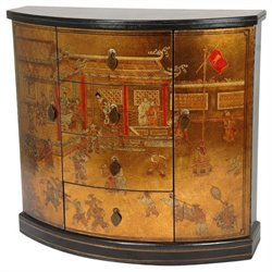 Oriental Furniture Village Market Accent Chest in Gold