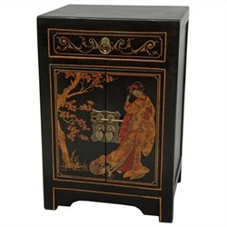 Oriental Furniture End Table Cabinet in Black