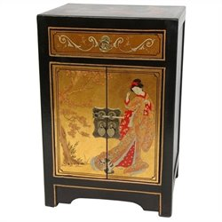 Oriental Furniture End Table Cabinet in Gold