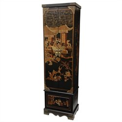 Oriental Furniture Floor Jewelry Armoire in Black