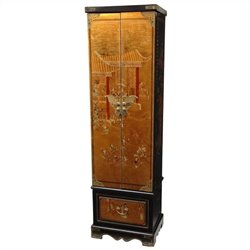 Oriental Furniture Floor Jewelry Armoire in Gold