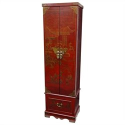 Oriental Furniture Floor Jewelry Armoire in Red