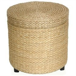 Oriental Furniture Storage Footstool in Natural